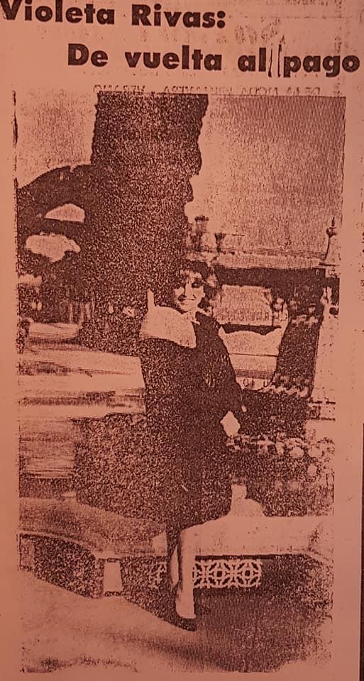 Una visita de la intérprete musical, Violeta Rivas, a Chivilcoy, en 1980.