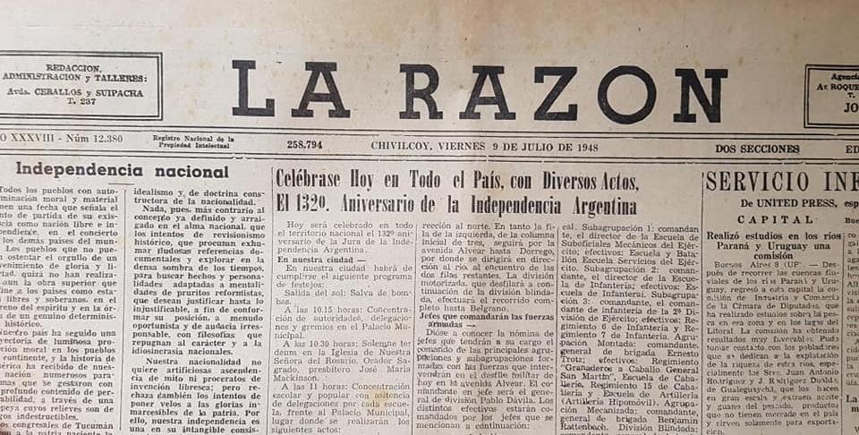 La celebración del 9 de Julio de 1948, en la ciudad de Chivilcoy