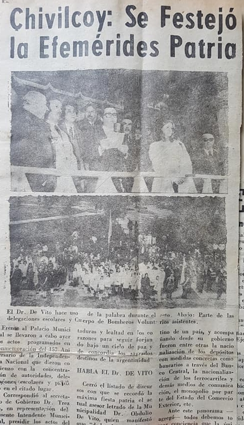 La celebración en Chivilcoy, del 9 de Julio de 1973