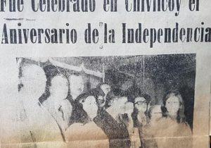La alumna, de séptimo grado, de la Escuela Primaria Nº 6 «Bernardino Rivadavia», Nancy Graciela Polli, recitando un poema alusivo, a la magna y gloriosa efemérides, del 9 de Julio de 1816.