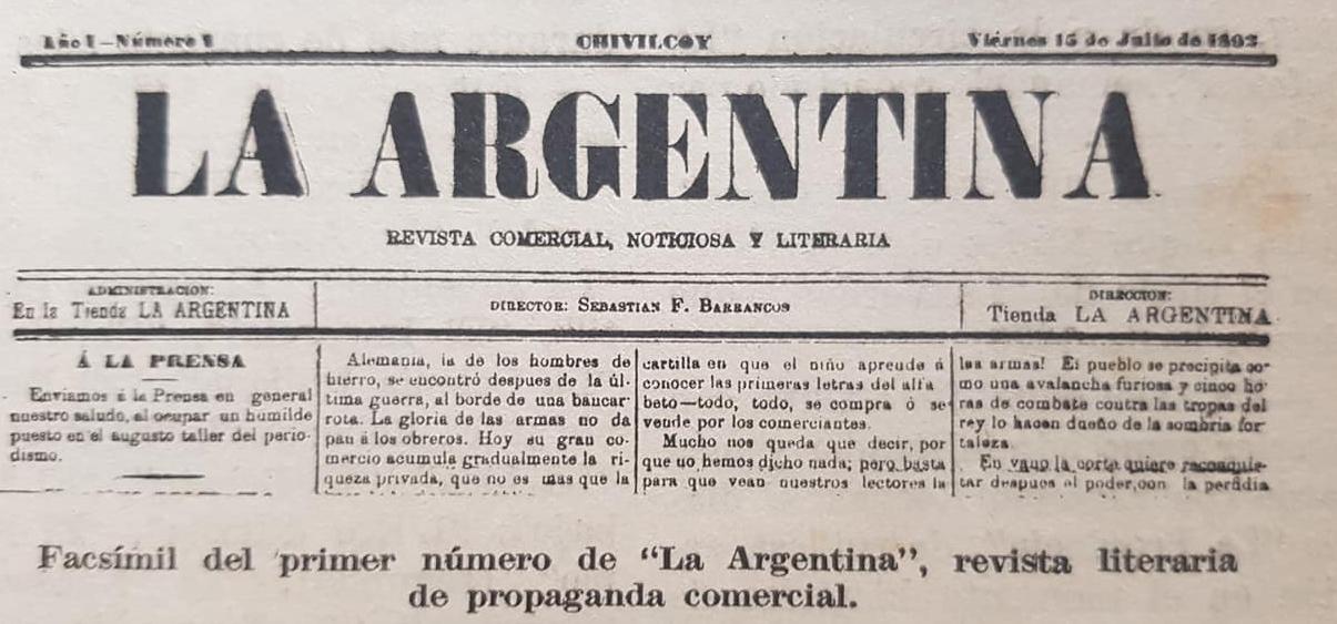 "La revista ""La Argentina"", de Don Sebastián Fabián Barrancos (1892)."