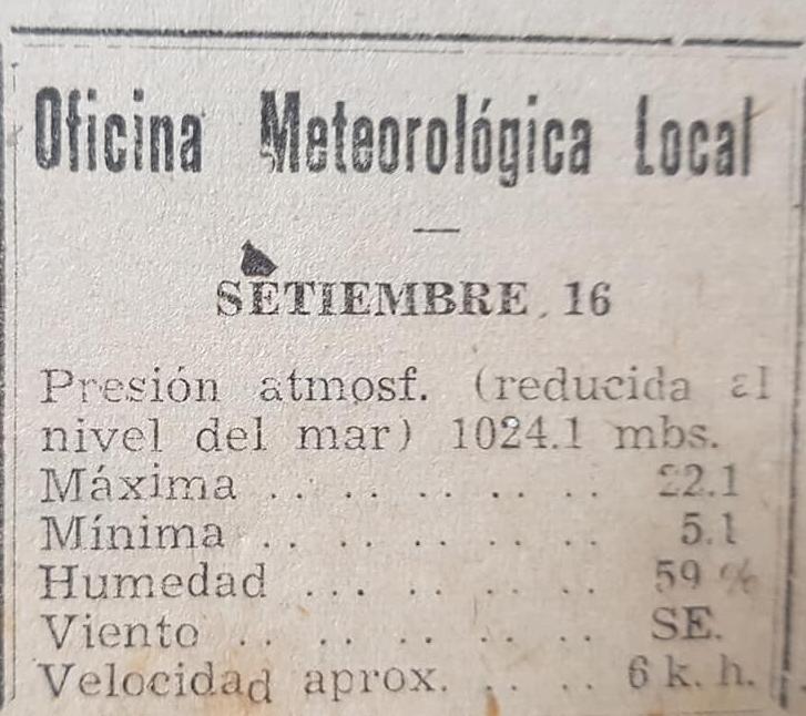 Una antigua estación meteorológica, de Chivilcoy, en la década de 1940.