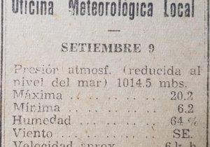 Informes diarios, de la oficina o estación meteorológica, que existió, aquí, en nuestra ciudad durante la década de 1940.