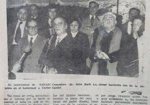 Ceremonia de imposición del nombre de Carlos Gardel, el melodioso e inmortal Morocho del Abasto y Zorzal Criollo, el viernes 8 de septiembre de 1978.