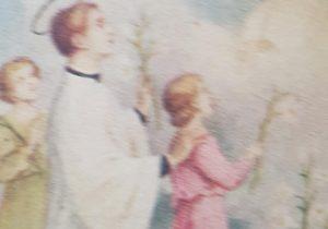 Estampa religiosa, de San Luis Gonzaga, con motivo del Día del Estudiante, el 21 de septiembre de 1946.