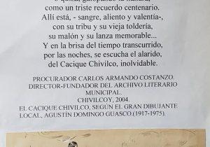 El Cacique Chivilco, en una ilustración, del gran dibujante y singular pionero, de la publicidad chivilcoyana, Agustín Domingo Guasco (1917-1975).