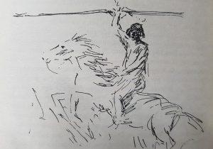 El cacique Chivilco, a través de la diestra pluma, del eximio dibujante, Jean Paul Laverdet, quien ilustró el libro «El Pueblo de Sarmiento», del ingeniero Mauricio Birabent, publicado, por vez primera, en el mes de octubre de 1938.