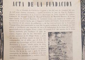 El Acta de Fundación, de nuestra ciudad de Chivilcoy, en una publicación, para el Centenario, del mes de octubre de 1954, ilustrada por el eximio dibujante chivilcoyano, Pascual Guida