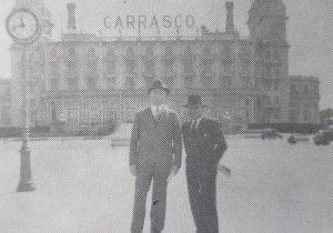 El Dr. Alejandro Osvaldo Suárez, junto a su amigo, Emilio Maradei, en la ciudad de Montevideo, República Oriental del Uruguay (Década de 1930).