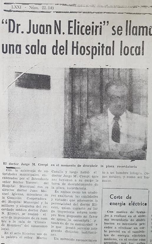 Recordando al Dr. Juan Nicolás Eliceiri (1905 – 1973).