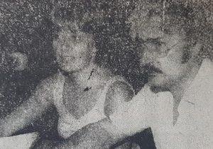 El locutor e intérprete escénico, Norberto Lasala, en compañía, de la destacada locutora, Graciela Emilia Rampazzo, al cumplirse el décimo aniversario, de LT32 Radio Chivilcoy, el 10 de marzo de 1983.