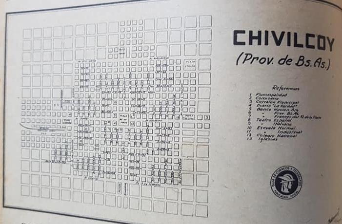 La ciudad de Chivilcoy, en una «Guía de Correos y Telégrafos», editada en 1938.
