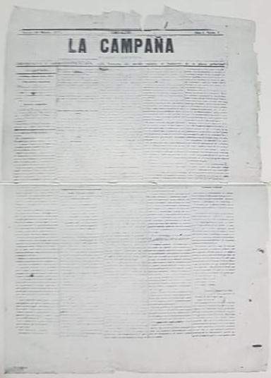 """El nacimiento de la prensa chivilcoyana, con la aparición gráfica, del periódico """"La Campaña"""", el 18 de marzo de 1875."""