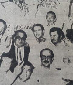 Carlos Alberto Ayarza, en el centro de la fotografía, el domingo 30 de octubre de 1983, celebrando el triunfo justicialista, en Chivilcoy, que consagró, como intendente municipal, al Dr. Carlos Francisco Dellepiane.