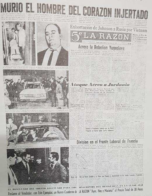"""El primer trasplante de corazón, en la Argentina, que se efectuó al chivilcoyano, Antonio Enrique Serrano, en 1968. El propio Serrano y el Dr. Oscar Pedro Prévide, fueron declarados """"Ciudadanos Ilustres Post Mortem"""", el 14 de diciembre de 2018."""