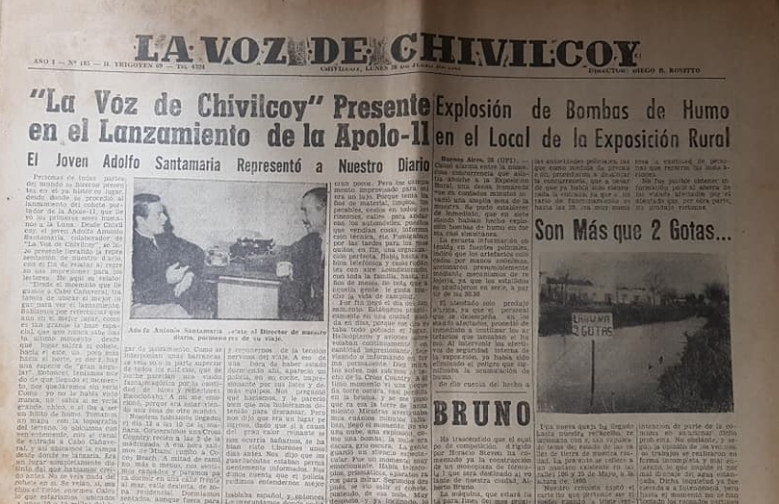 """El 50 aniversario, de la llegada del Hombre a la Luna, y la repercusión informativa, en la prensa de nuestra ciudad: Los matutinos """"La Razón"""" y """"La Voz de Chivilcoy""""."""