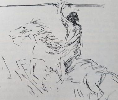 El cacique Chivilcoy o Chivilco, a través de la pluma, del diestro y eximio dibujante Jean Paul Laverdet, quien ilustró, de una manera primorosa y admirable, el libro «El Pueblo de Sarmiento», del ingeniero Mauricio Birabent, editado en el mes de octubre de 1938.