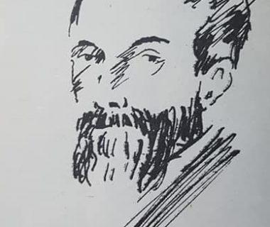 Don Manuel Villarino, en el diestro dibujo, de Jean Paul Laverdet, quien ilustró el libro «El Pueblo de Sarmiento», del ingeniero Mauricio Birabent, editado en octubre de 1938.