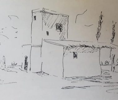 Estancia de Villarino, a orillas del Río Saldo (dibujo de Jean Paul Laverdet).