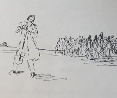 Valentín Fernández Coria, clavando la pala fundadora, aquella histórica jornada, del domingo 22 de octubre de 1854. lo refleja, una ilustración, del eximio dibujante Jean Paul Laverdet, en el libro «El Pueblo de Sarmiento», del ingeniero Mauricio Birabent, editado en el mes de octubre de 1938.