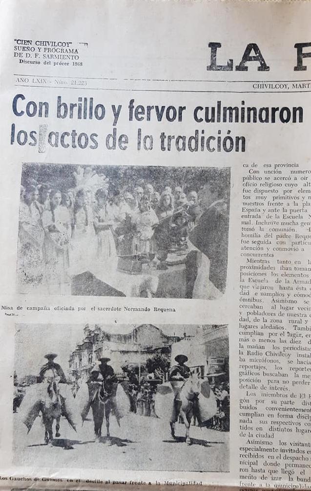 Los resonantes festejos de la Tradición Nacional, realizados en Chivilcoy, los domingos 19 de noviembre de 1978 y 14 de noviembre de 1982