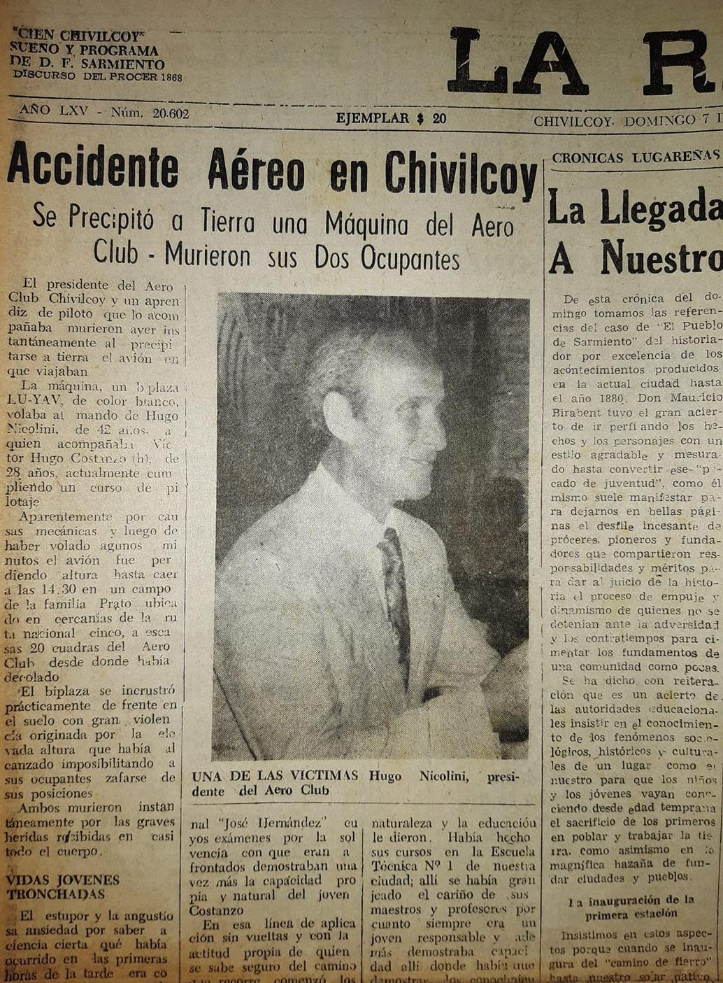 Una luctuosa tragedia aérea, que conmovió a la comunidad de Chivilcoy