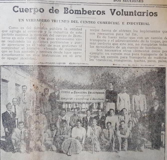 El glorioso bautismo de fuego, de los bomberos voluntarios de Chivilcoy: Se registró el sábado 8 de diciembre de 1945, al producirse un incendio en la iglesia del Rosario.