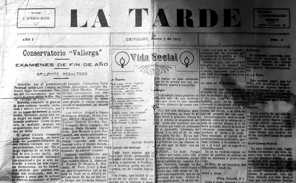 """Un antiguo ejemplar periodístico, del diario """"La Tarde"""", publicado en Chivilcoy, el 3 de enero de 1923"""