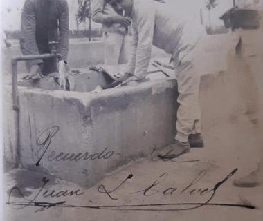 Don Isidro Pascual Costanzo, cuando cumplía el servicio  militar obligatorio, en la Escuela de Tiro, de Campo de Mayo, a través de una fotografía, fechada el 14 de diciembre de 1912.