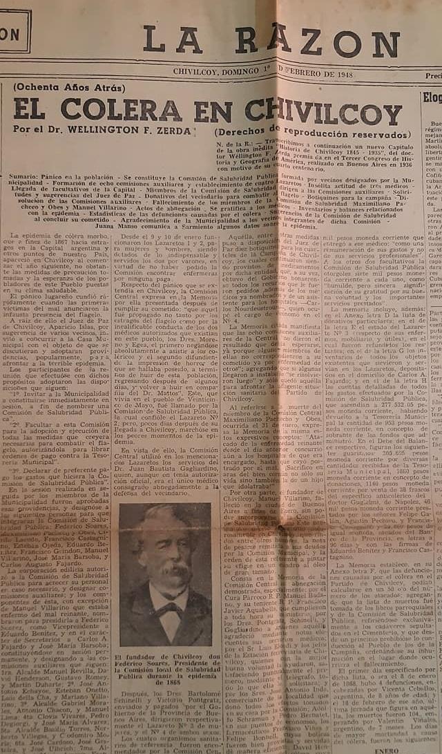 La tremenda e implacable epidemia de cólera, que azotó a Chivilcoy, durante los meses de enero y febrero de 1868.