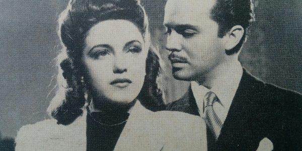 La actriz chivilcoyana Nélida Solá (Nélida Tomeo de Cánepa), y el actor y galán capitalino, Domingo Márquez, en una escena de la película «La sombra del pasado».
