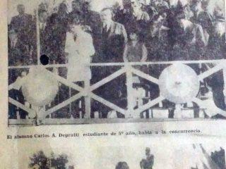 Recordación del general San Martín, en 1969, diez años antes, de la inauguración de su estatua, en la plaza 25 de mayo.