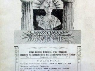 Carátula de la revista estudiantil «Palas», una publicación de ciencias artes y educación, cuyo primer número, data del 1 de septiembre de 1915.