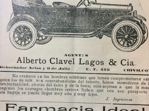 Anuncio publicitario, de una de las agencias de automóviles, con la propaganda de sus respectivos vehículos, que data del año 1924, cuando Sebastián M. Berrondo, era intendente municipal de Chivilcoy.