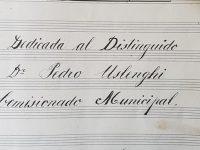 Carátula, de la partitura, de la marcha militar «Dr. Carlos Pellegrini», del músico, compositor y director de banda, italiano, Don Cándido Morábito (6 de enero de 1931).