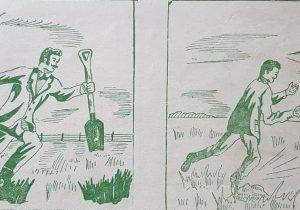 Historieta, sobre distintos aspectos de la historia de Chivilcoy, realizada, por el dibujante Lorenzo, en la década de 1950.
