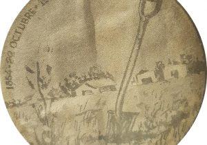La histórica y memorable pala fundadora, en una ilustración, del gran dibujante y pionero de la publicidad chivilcoyana, Agustín Domingo Guasco (1917-1975).
